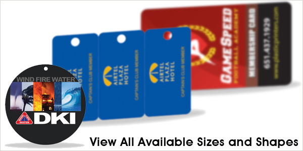 View all Plastic Key Tag Printing Shapes and Sizes